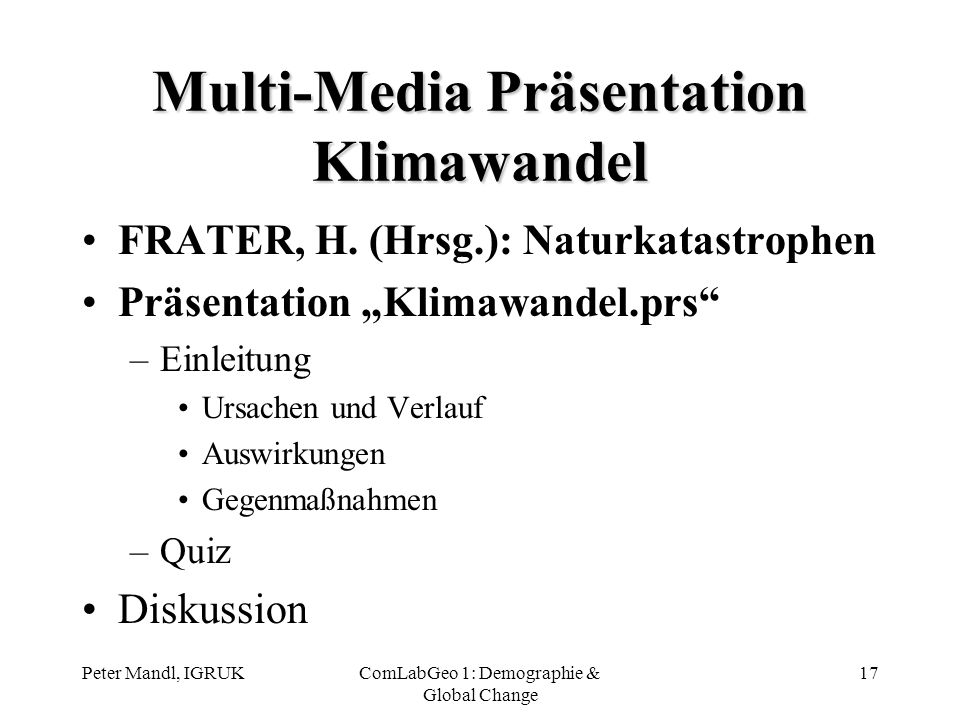 Multi-Media Präsentation Klimawandel