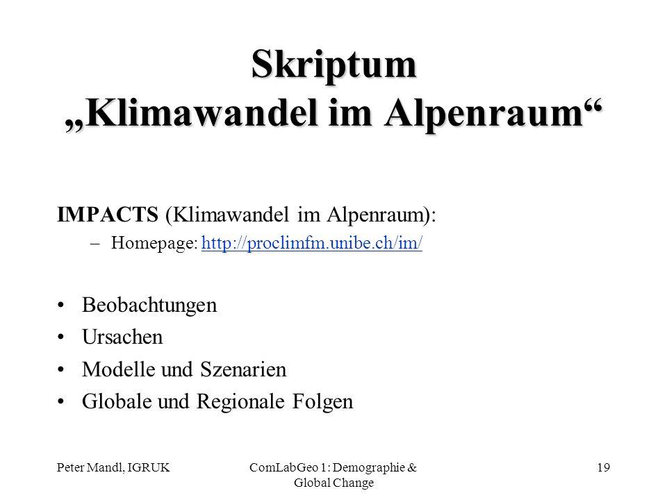 "Skriptum ""Klimawandel im Alpenraum"