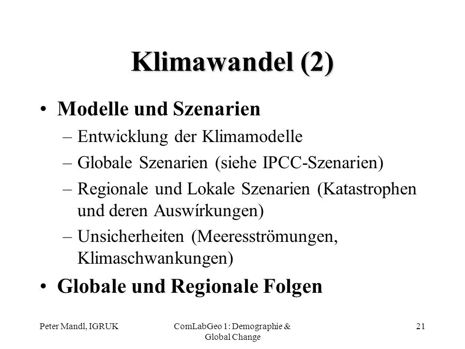 ComLabGeo 1: Demographie & Global Change