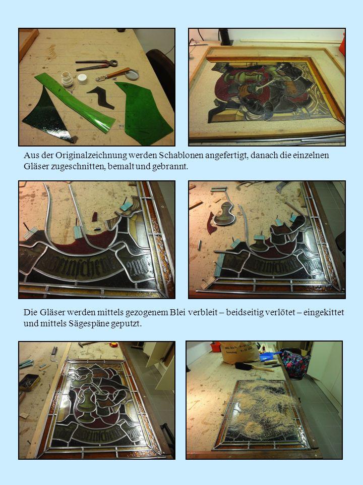 Aus der Originalzeichnung werden Schablonen angefertigt, danach die einzelnen Gläser zugeschnitten, bemalt und gebrannt.