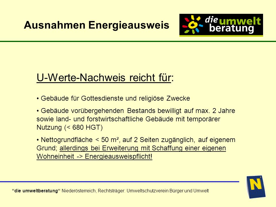 Ausnahmen Energieausweis