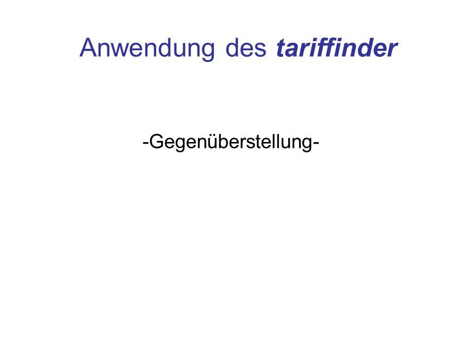 Anwendung des tariffinder