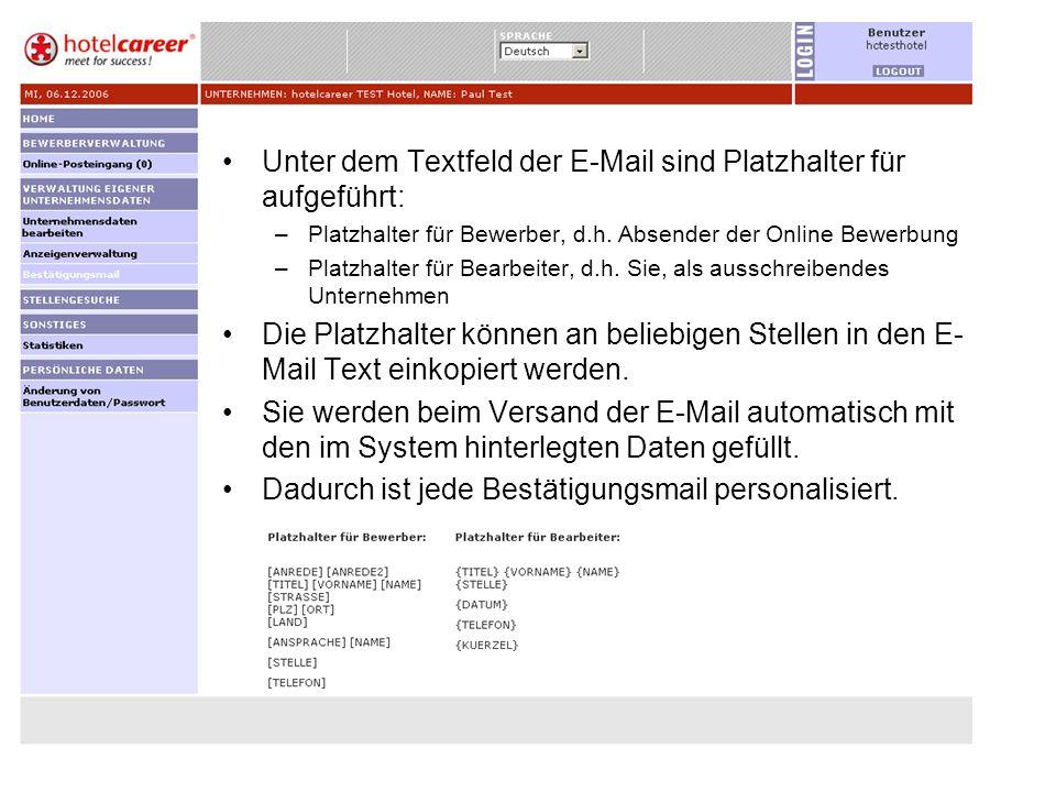 Unter dem Textfeld der E-Mail sind Platzhalter für aufgeführt: