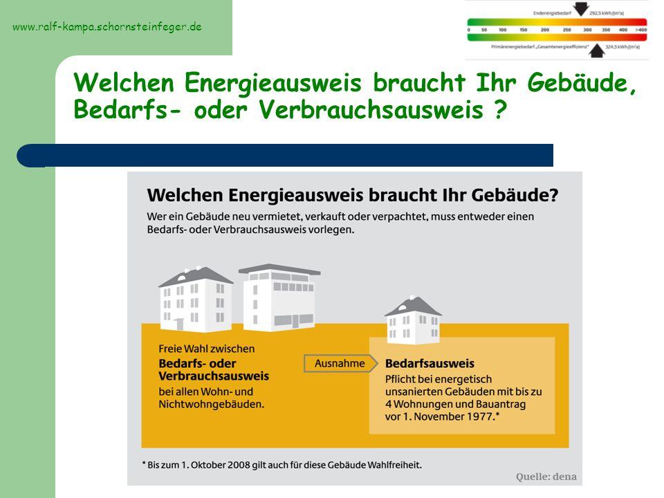 www.ralf-kampa.schornsteinfeger.de Welchen Energieausweis braucht Ihr Gebäude, Bedarfs- oder Verbrauchsausweis