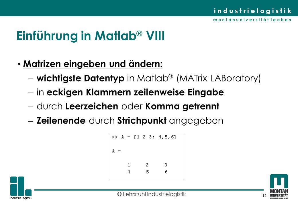 Einführung in Matlab® VIII