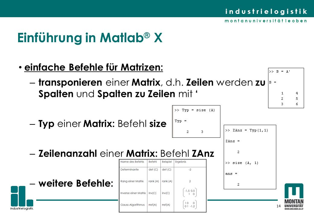 Einführung in Matlab® X