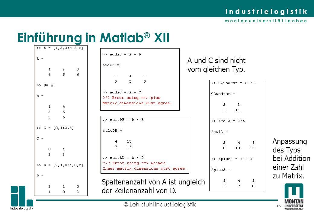 Einführung in Matlab® XII