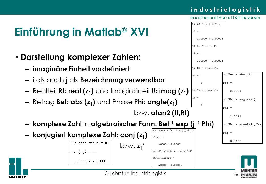 Einführung in Matlab® XVI
