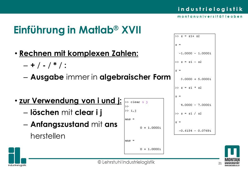 Einführung in Matlab® XVII