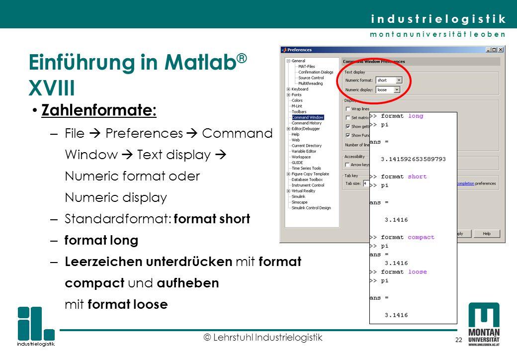 Einführung in Matlab® XVIII