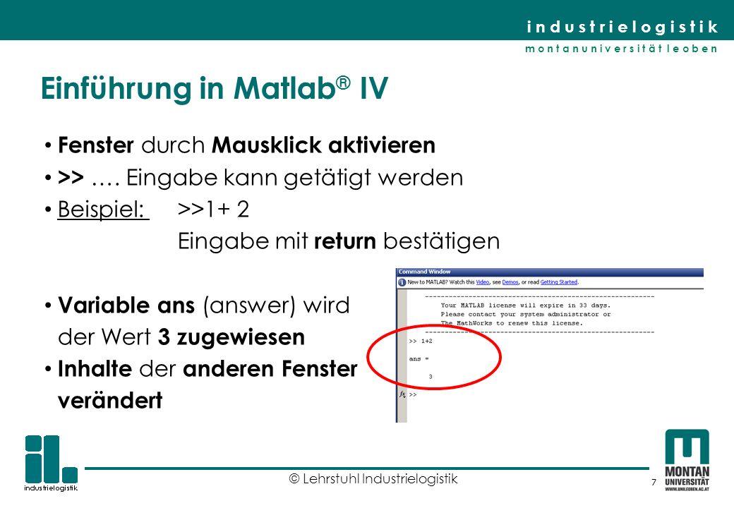 Einführung in Matlab® IV
