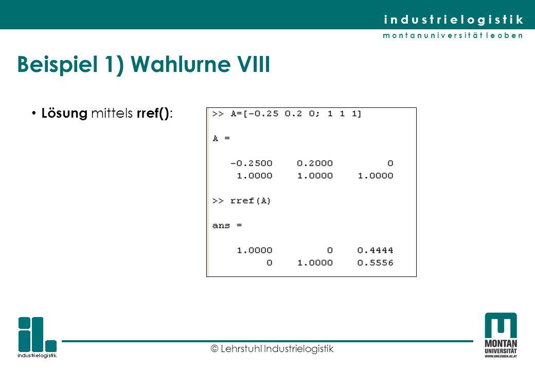 Beispiel 1) Wahlurne VIII