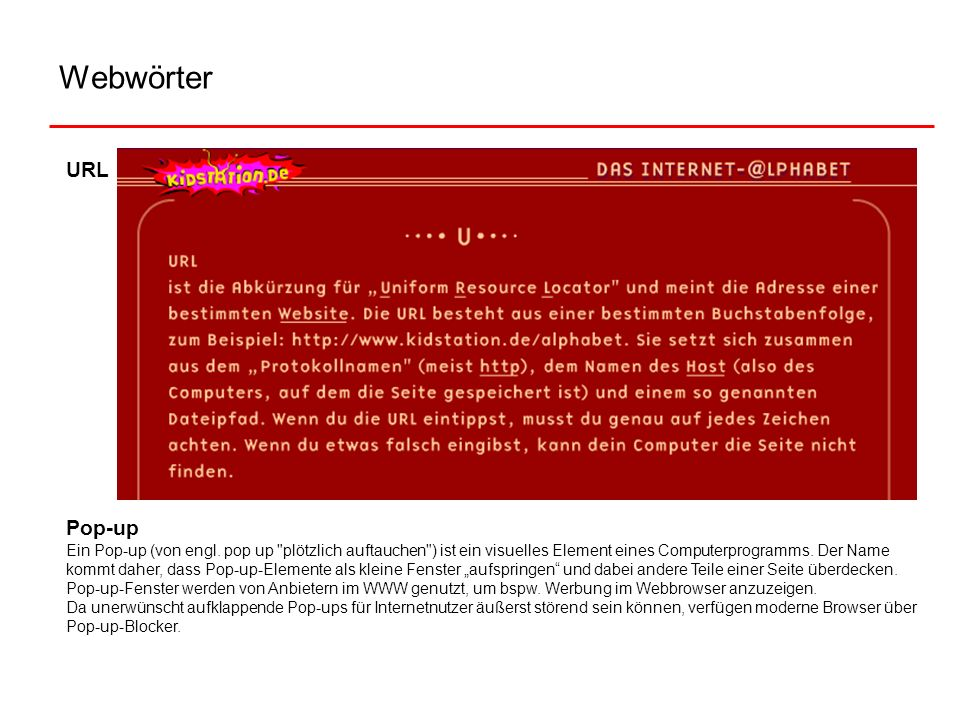 Webwörter URL. Pop-up.