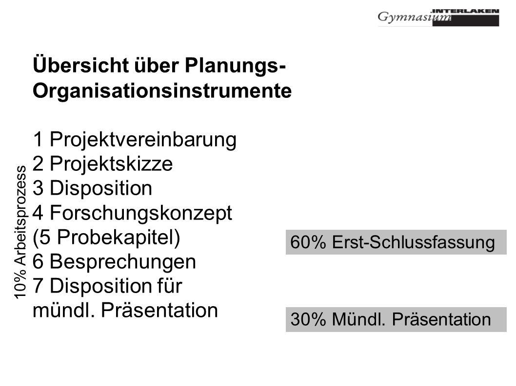 Übersicht über Planungs- Organisationsinstrumente