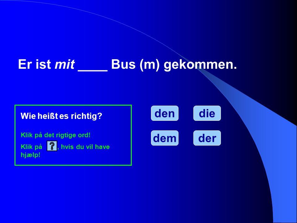 Er ist mit ____ Bus (m) gekommen.
