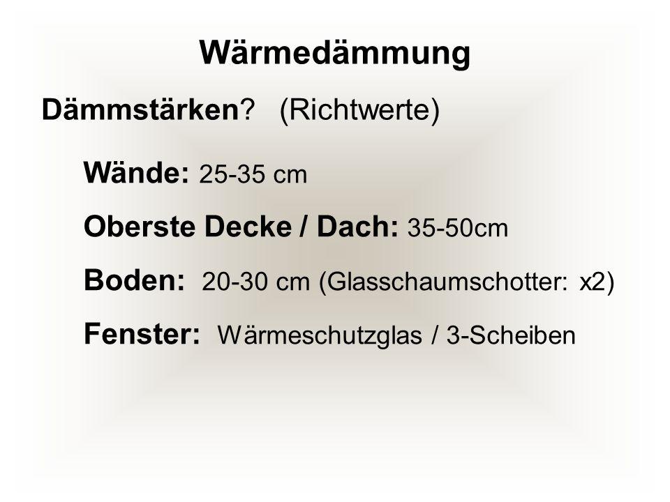 Wärmedämmung Dämmstärken (Richtwerte) Wände: 25-35 cm