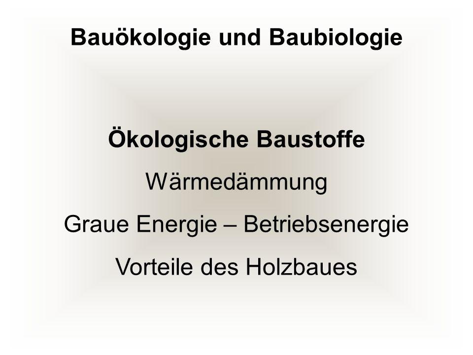Bauökologie und Baubiologie Ökologische Baustoffe