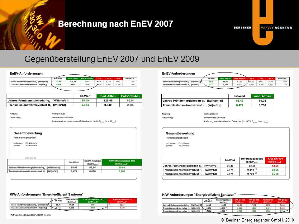 Gegenüberstellung EnEV 2007 und EnEV 2009