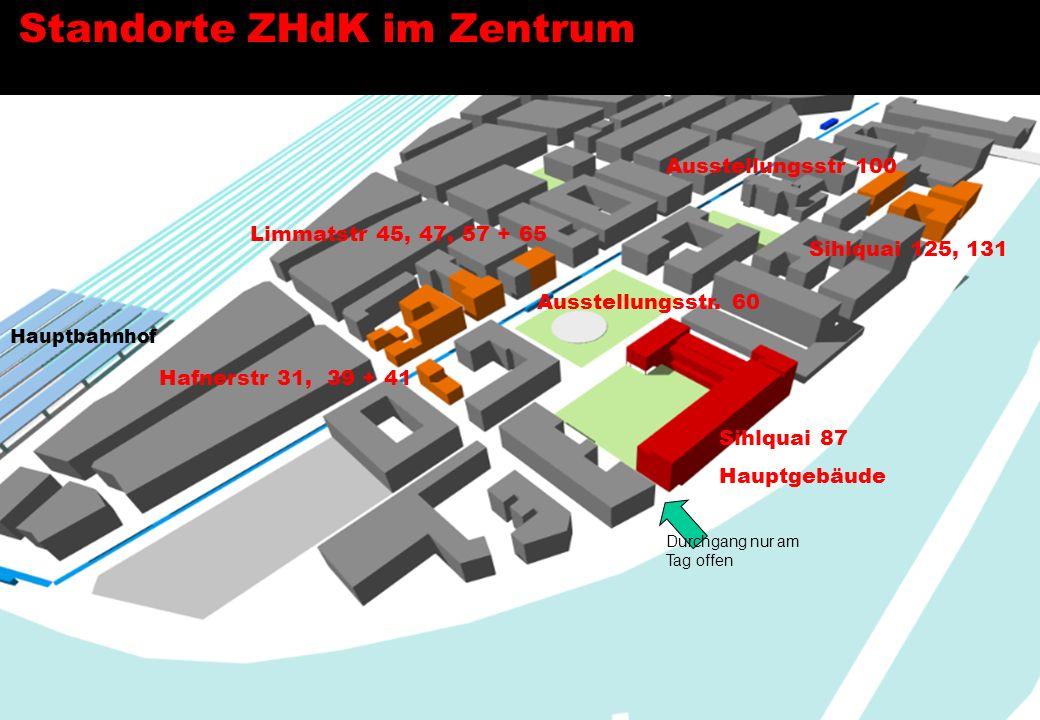 Standorte ZHdK im Zentrum