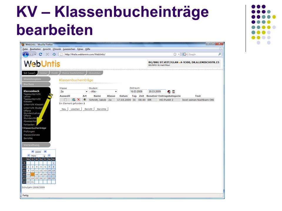 KV – Klassenbucheinträge bearbeiten