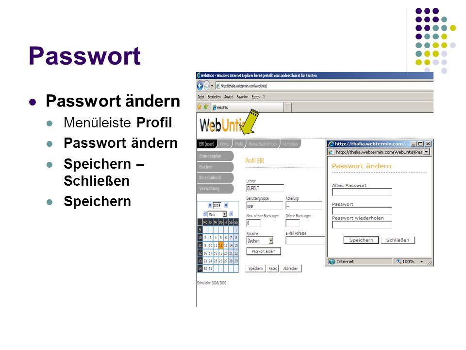 Passwort Passwort ändern Menüleiste Profil Speichern – Schließen