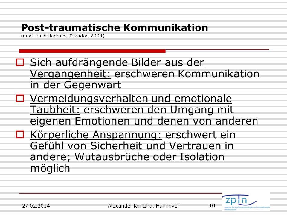 Post-traumatische Kommunikation (mod. nach Harkness & Zador, 2004)
