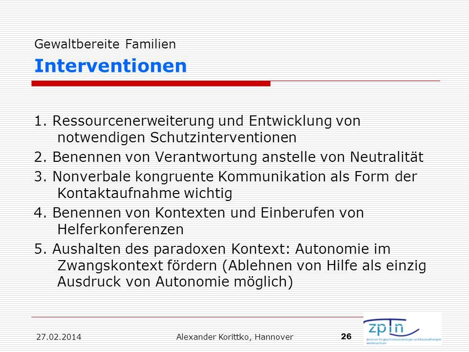 Gewaltbereite Familien Interventionen