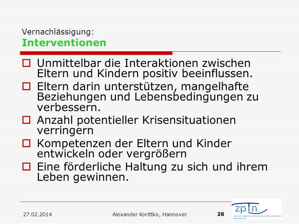 Vernachlässigung: Interventionen