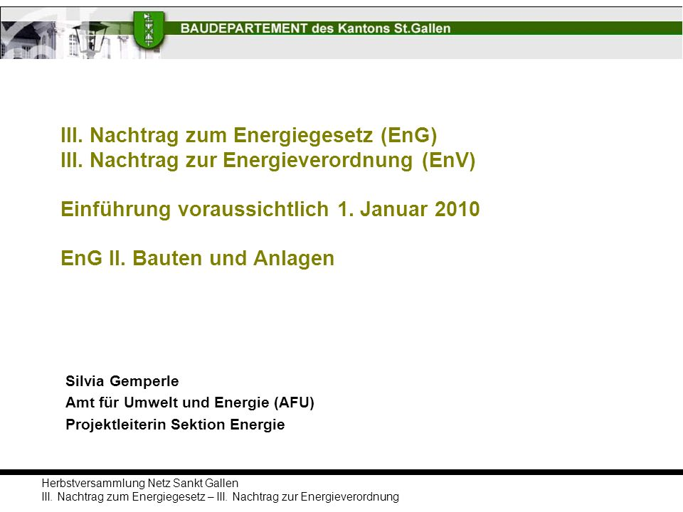 III. Nachtrag zum Energiegesetz (EnG) III