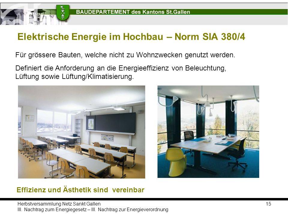 Elektrische Energie im Hochbau – Norm SIA 380/4