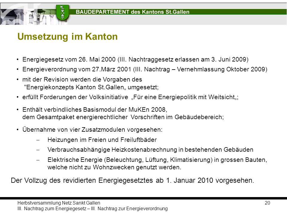 Umsetzung im Kanton Energiegesetz vom 26. Mai 2000 (III. Nachtraggesetz erlassen am 3. Juni 2009)