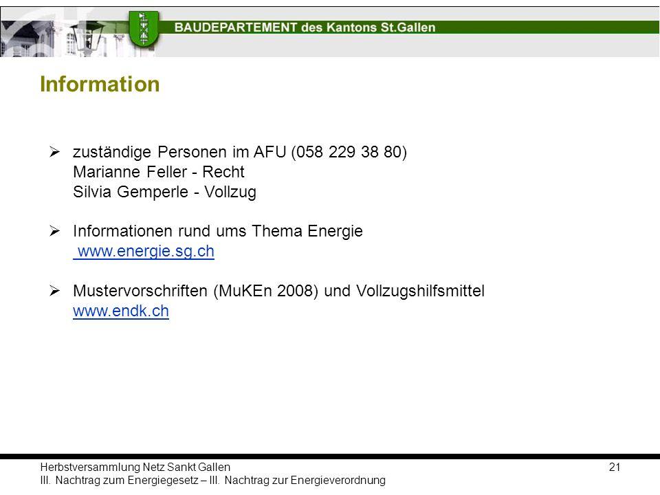 Information zuständige Personen im AFU (058 229 38 80) Marianne Feller - Recht Silvia Gemperle - Vollzug.