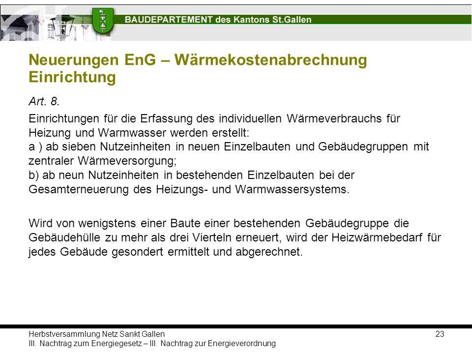 Neuerungen EnG – Wärmekostenabrechnung Einrichtung