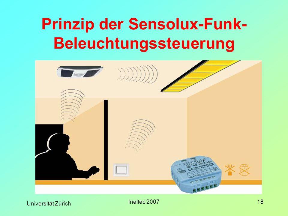 Prinzip der Sensolux-Funk-Beleuchtungssteuerung