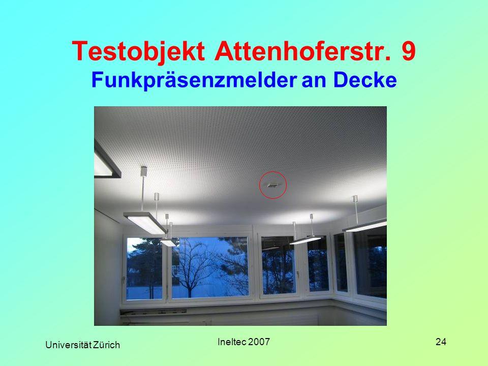 Testobjekt Attenhoferstr. 9 Funkpräsenzmelder an Decke