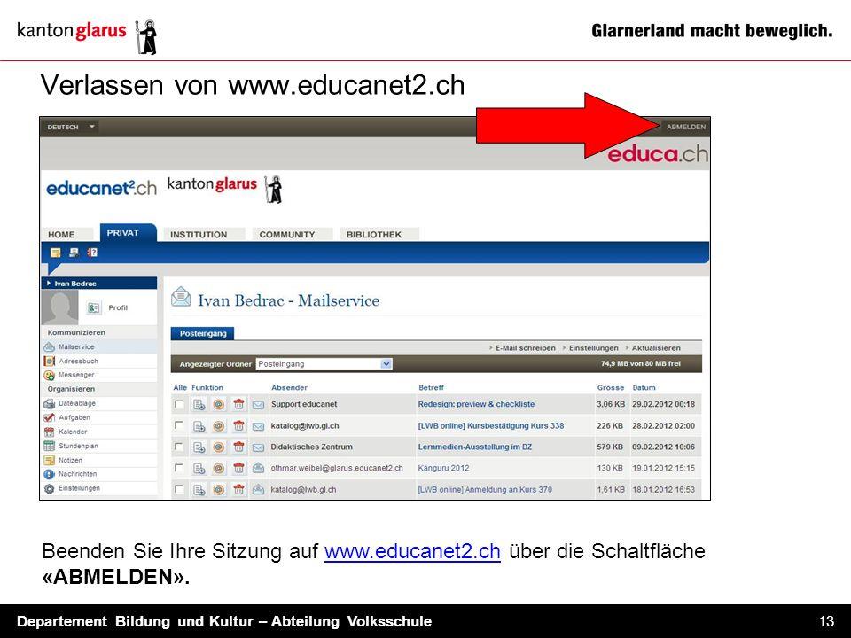 Verlassen von www.educanet2.ch