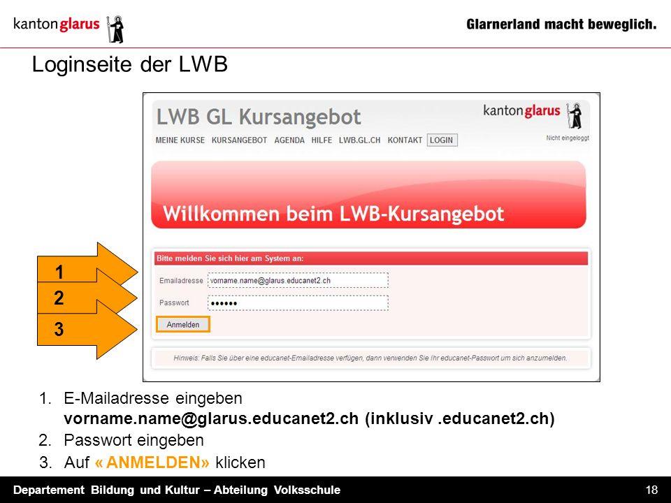 Loginseite der LWB E-Mailadresse eingeben vorname.name@glarus.educanet2.ch (inklusiv .educanet2.ch)