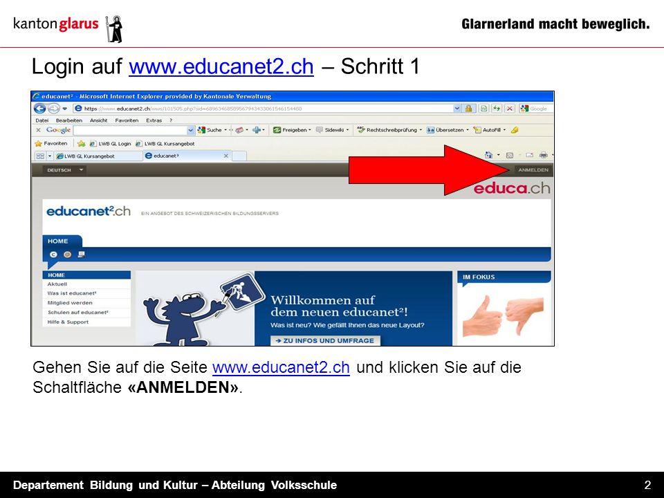 Login auf www.educanet2.ch – Schritt 1