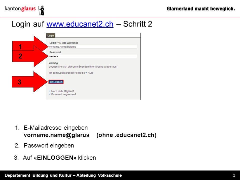 Login auf www.educanet2.ch – Schritt 2