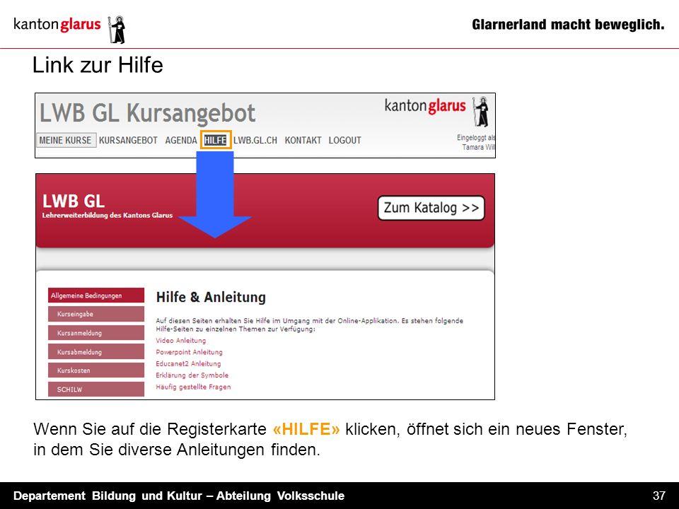 Link zur Hilfe Wenn Sie auf die Registerkarte «HILFE» klicken, öffnet sich ein neues Fenster, in dem Sie diverse Anleitungen finden.