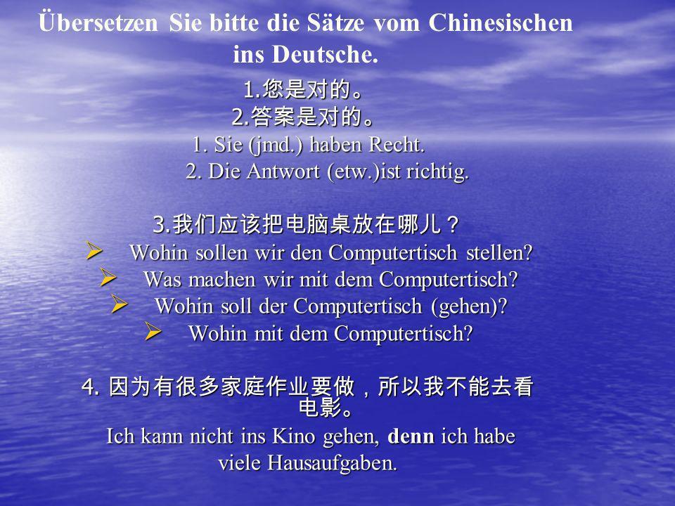Übersetzen Sie bitte die Sätze vom Chinesischen ins Deutsche.