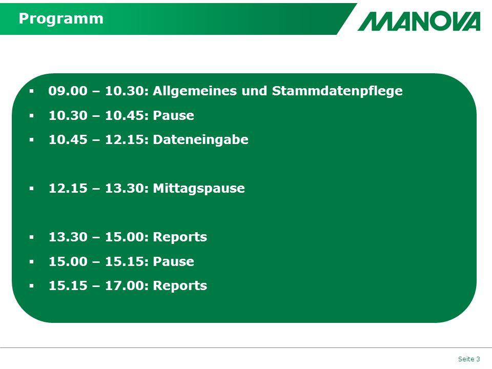 Programm 09.00 – 10.30: Allgemeines und Stammdatenpflege
