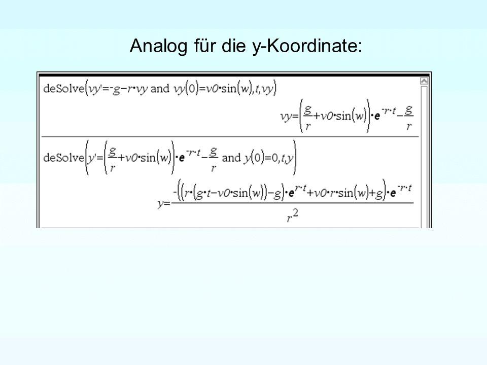 Analog für die y-Koordinate: