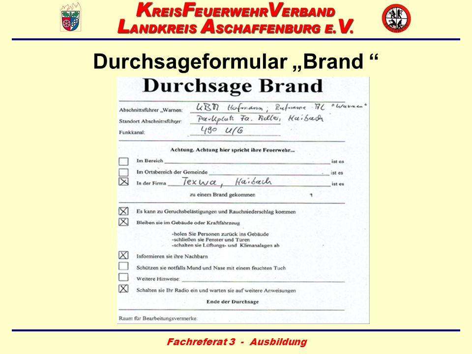 """Durchsageformular """"Brand"""