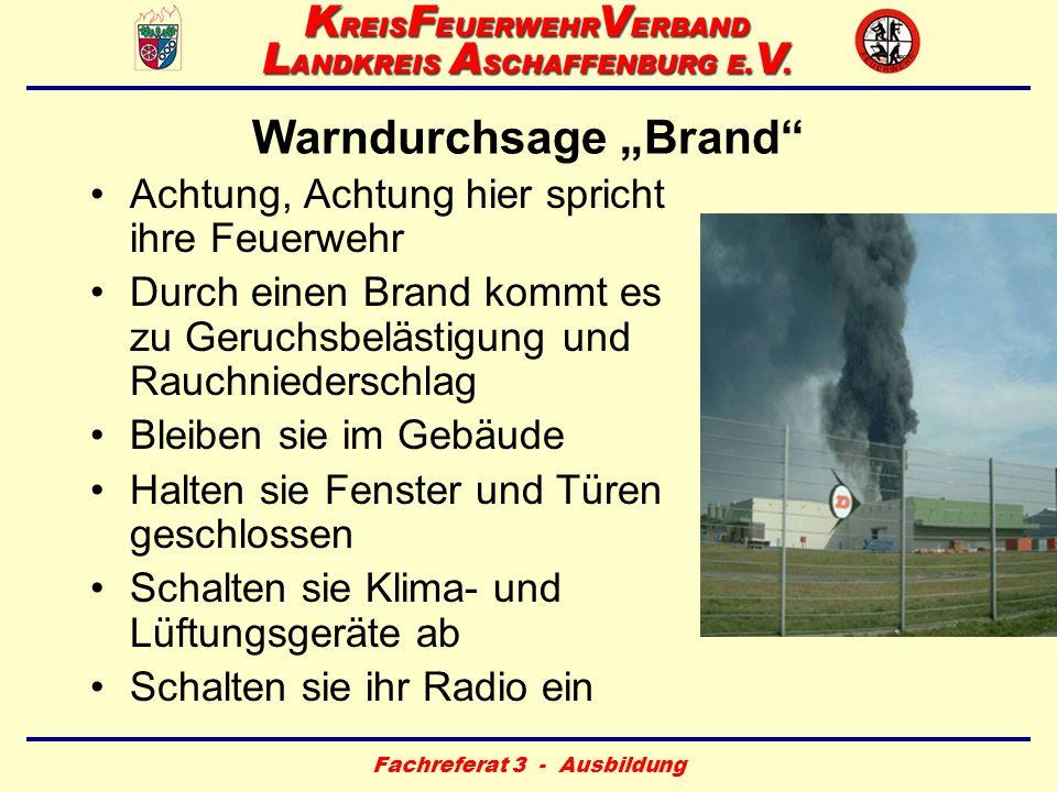 """Warndurchsage """"Brand"""