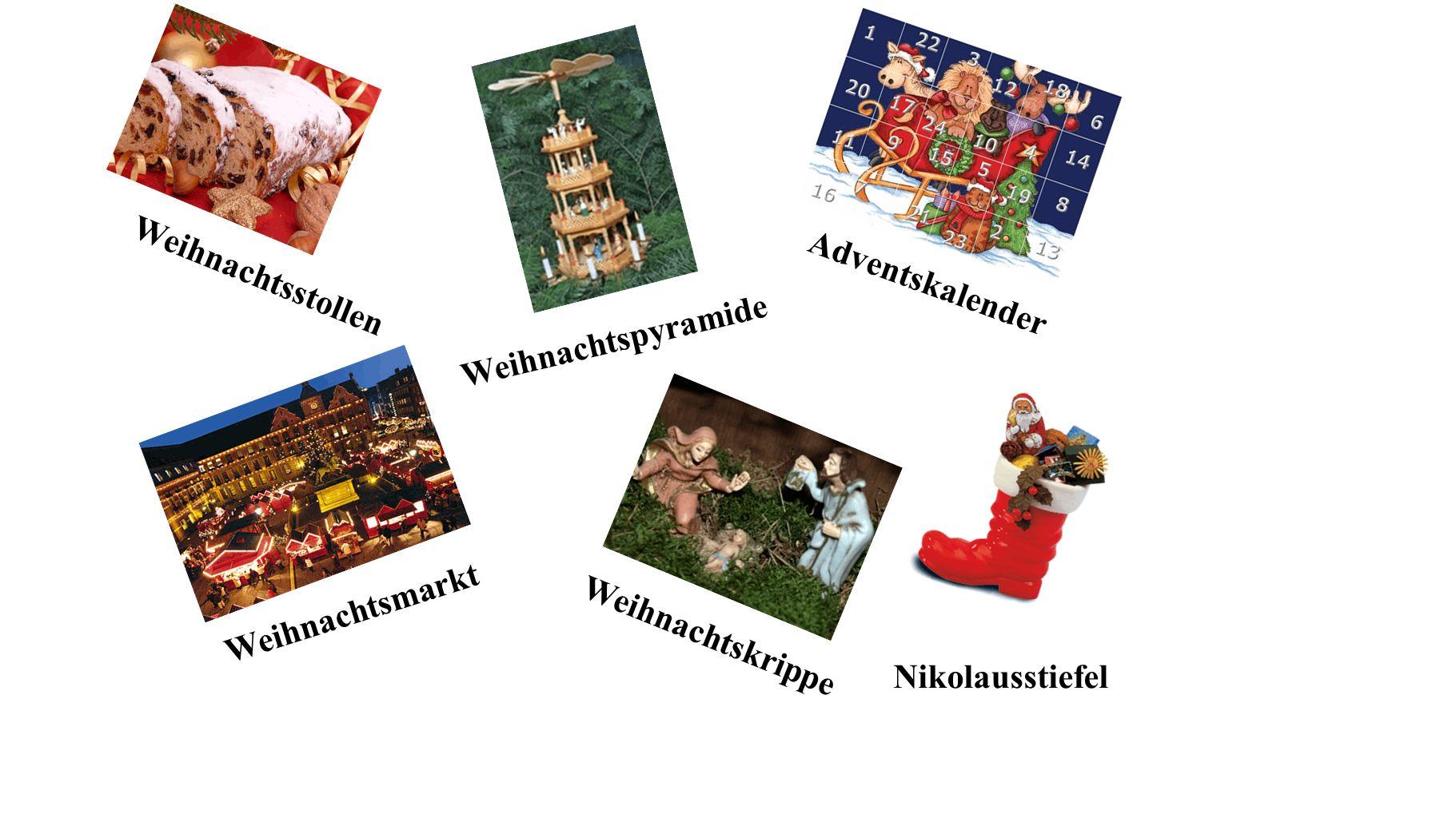 Weihnachtsstollen Adventskalender. Weihnachtspyramide.