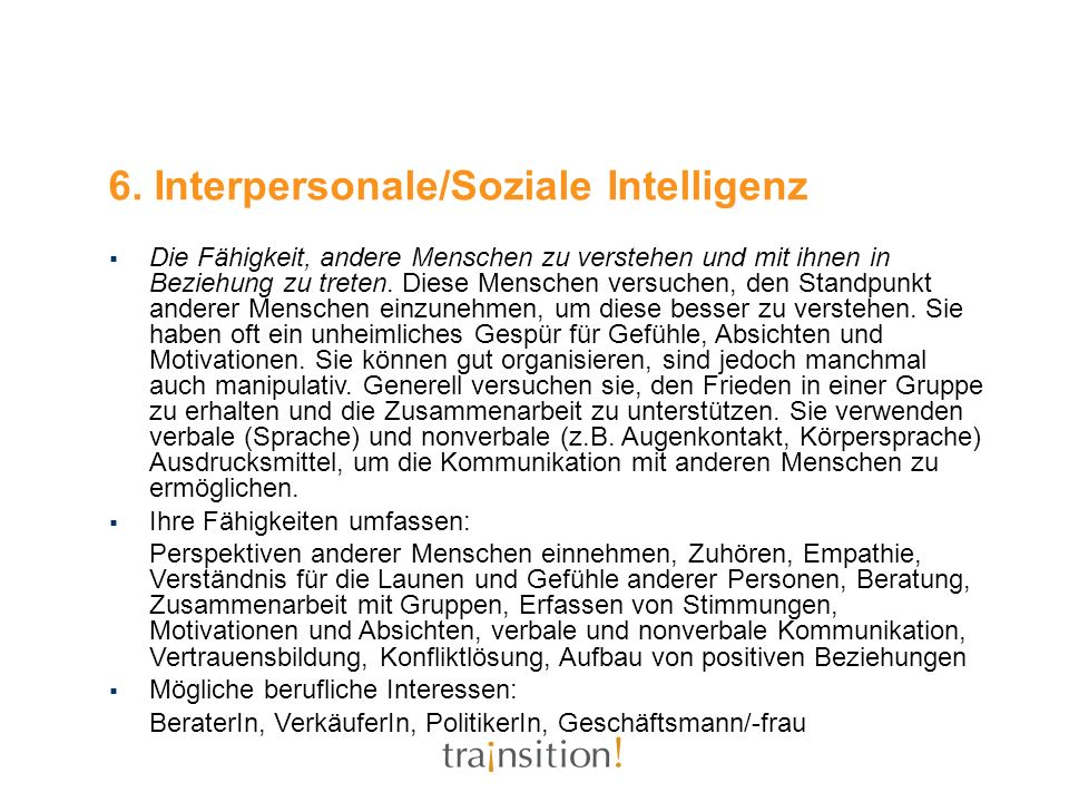 6. Interpersonale/Soziale Intelligenz