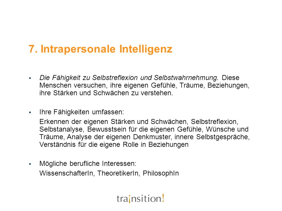 7. Intrapersonale Intelligenz