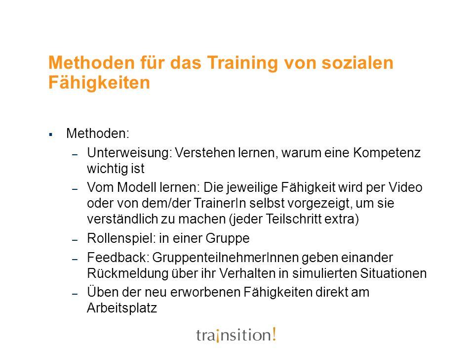 Methoden für das Training von sozialen Fähigkeiten