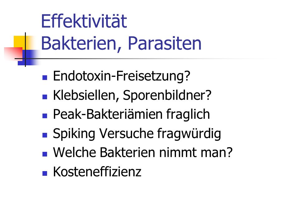 Effektivität Bakterien, Parasiten